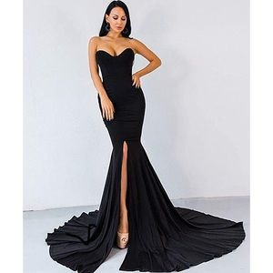 Strapless black slit gown